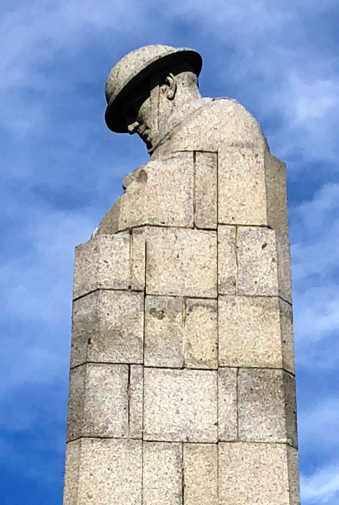 The Brooding Soldier Canadian memorial at Vancouver Corner – Somme and Ypres WW1 Battlefield Tour