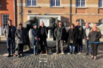 Tony and the group at the Christmas Truce memorial at Messines – Somme and Ypres WW1 Battlefield Tour