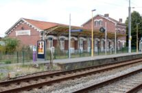 Steenwerck Train Station where trains were set alight by the resistance – Gardens of Stone book by Stephen Grady WW2 Tour