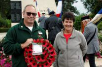 Tony and Stephanie from the book club were invited to lay a wreath at the ceremony – Gardens of Stone book by Stephen Grady WW2 Tour