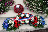 The wreaths laid at the ceremony – Gardens of Stone book by Stephen Grady WW2 Tour
