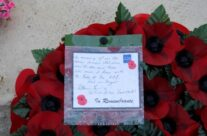 Our wreath laid at the ceremony – Gardens of Stone book by Stephen Grady WW2 Tour