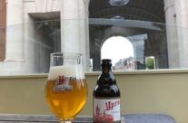 First beer of our trip with a magnificent view of the Menin Gate – Beers and Battlefields of Flanders WW1 Tour