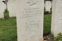 Grave of J P Robertson VC in Tyne Cot Cemetery – Somme and Ypres WW1 Battlefield Tour