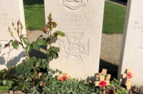Grave of VC winner Private Barrett at Essex Farm Cemetery – Somme and Ypres WW1 Battlefield Tour