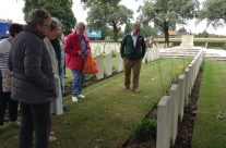 Rue-du-Bois Cemetery in Fleurbaix for sisters Joan and Margaret to place crosses on their relative's grave. The first time any family member had visited the grave – Somme Battlefield Tour