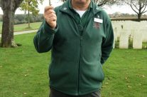 Tony with his trench whistle – Somme and Ypres Battlefield Tour
