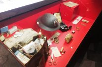 Display of a British medical bag at the In Flanders Field Museum, The Cloth Hall, Ypres – Messines Discovery Battlefield Tour