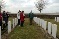 A personal visit for Jackie and Rose at their relative's grave at Spoilbank Cemetery – Ypres Salient Battlefield Tour