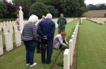 Our second wreath laying at Heilly Station Cemetery, this time for Beryl at her Uncle's grave – Somme Battlefield Tour