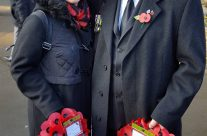 Allison and Tony Eden of Rifleman Tours waiting with the group for the Poppy Parade to begin from St Martin's Cathedral, Ypres, Armistice Day – 2016 Armistice Day in Ypres and Battlefield Tour