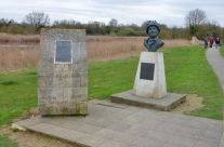 Site of First Glider to land at Pegasus Bridge and bust of Major Howard – Normandy and D-Day Landings Tours