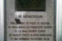 Plaque showing second Aid Station that was destroyed during the battle killing nurse Renee Lemaire – Easy Company Private Battlefield Tour