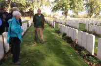 Vlamertinghe New Military Cemetery for a personal visit for one of our group. Tony Eden of Rifleman Tours reading the exultation – Ypres Battlefield Tour