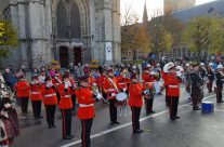 Bands playing outside St Martin's Cathedral, Ypres, on Armistice Remembrance Day – 2016 Armistice Day in Ypres and Battlefield Tour