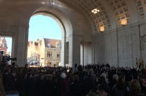 Poppy petals falling to 'Oh Valiant Hearts' ends the Armistice Last Post Remembrance Ceremony under the Menin Gate, Ypres – 2016 Armistice Day in Ypres and Battlefield Tour