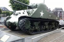 Sherman Tank on McAuliffe Square, Bastogne – Easy Company Private Battlefield Tour