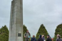 Our guide talking about the 1915 gas attack at the Brooding Soldier Canadian Memorial, Vancouver Corner – Somme and Ypres Battlefield Tour