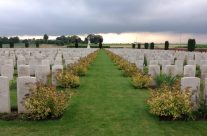 Bancourt Cemetery for a personal visit for one of our guests to visit a relative's grave – Somme Battlefield Tour