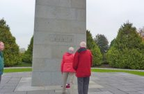 Our Canadian tour members laying a wreath at the Brooding Soldier Memorial at Vancouver Corner – Somme and Ypres Battlefield Tour