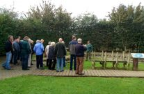Tony Eden of Rifleman Tours showing the group the Yorkshire Trench – Ypres Battlefield Tour