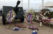 Wreaths at the Arromanches Remembrance Ceremony – Normandy & D-Day Landings 70th Anniversary Ceremony & Battlefield Tour