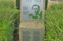 Memorial to WW1 poet Francis Ledwidge in the spot where he was killed, near Boezinge – Somme and Ypres Battlefield Tour