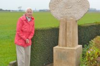 One of our tour group at Kitchener's Wood Memorial where her father fought – Somme and Ypres Battlefield Tour