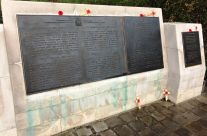 Memorial to John McCrae and In Flanders Field poem at Essex Farm – 2018 Armistice Remembrance Day in Ypres