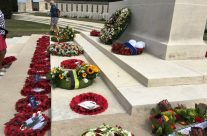Wreaths at the Stone of Remembrance, Tyne Cot for the Passchendaele 100th Anniversary Remembrance Service – Passchendaele Anniversary Remembrance Battlefield Tour