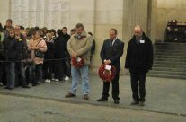 Members of the tour party laying wreaths at Last Post Ceremony at the Menin Gate, Ypres – Somme and Ypres Battlefield Tour