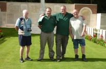 Guides Tony and Iain refuse to wear short trousers, despite the sunshine – Somme Battlefield Tour