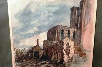 A close up of the print of Adolf Hitler's painting of the church at Messines on display at the Messines Visitor Centre – Messines Discovery Battlefield Tour