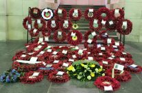 Wreaths at the Menin Gate following the Last Post Ceremony, Ypres – Passchendaele Anniversary Remembrance Battlefield Tour