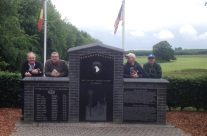 Some of the group at the Easy Company 101st Division Memorial at Bois Jaques – Easy Company Private Battlefield Tour