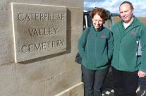 Tony and Allison of Rifleman Tours at Caterpillar Valley Cemetery – Somme and Ypres Battlefield Tour