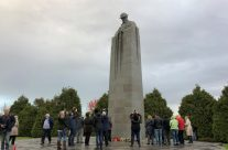 The group at the Brooding Soldier Canadian Memorial at Vancouver Corner – 2018 Armistice Remembrance Day in Ypres