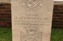 Captain Harold Ackroyd at Birr Cross Cemetery, Ypres Salient – 2016 Armistice Day in Ypres and Battlefield Tour