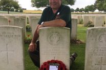A personal visit for Tony to his Great Uncle's Grave, Rifleman Robert Eden of the Post Office Rifles, at Warlencourt British Cemetery – Etaples and Somme WW1 Battlefield Tour