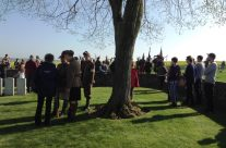 Gathering for a remembrance service at Highland Cemetery – Arras 100 Anniversary Battlefield Tour