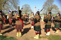 Pipers at a remembrance service at Highland Cemetery – Arras 100 Anniversary Battlefield Tour
