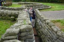 Members of the tour party in the Yorkshire Trench – Somme and Ypres Battlefield Tour