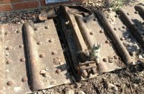 A piece of the tank track as part of the memorial at Bullecourt – Arras 100 Anniversary Battlefield Tour